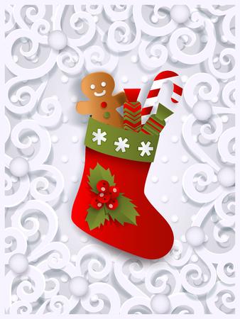 Modello di biglietto di auguri di Natale con calza di Natale, gingerman e bastoncino di zucchero, piatto, carta tagliata illustrazione vettoriale su sfondo bianco ornato. Modello di biglietto di Natale con calza di Natale Archivio Fotografico - 86157165