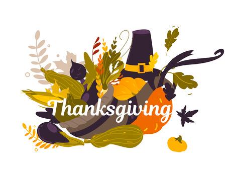 Group of thanksgiving symbols, food, decoration elements – horn of abundance, pumpkin pie, fruits, vegetables, cartoon vector illustration isolated on white background. Cartoon thanksgiving background