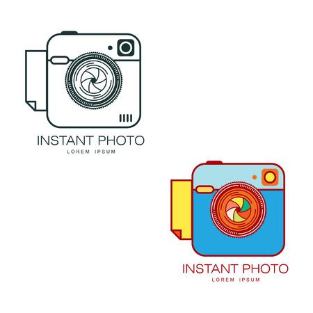 Vector instant fotocamera lens icon set gekleurd en monochroom. Platte cartoon geïsoleerde illustratie op een witte achtergrond. Logo merk concept voor fotostudio ontwerp