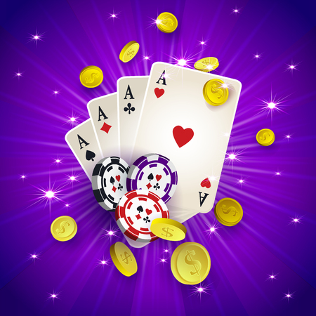 cash: Casino banner, poster design with chips, tokens, playing cards, falling golden coins, vector illustration. Casino, gambling chips tokens playing cards and golden coins, banner, poster, postcard design
