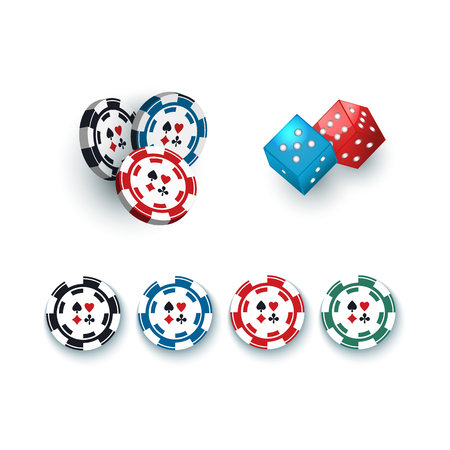 Set of casino, gambling devices - chips, tokens and dices, vector illustration isolated on white background. Group of gambling dices and casino chips, tokens on white background Illustration