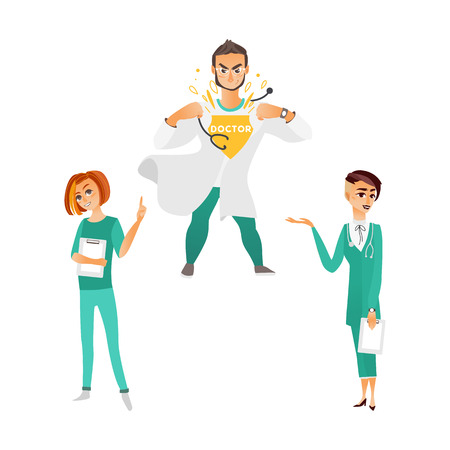 フラット ベクトル漫画白紙、超ハンサムな男性専門セットと sthetoscope 持株クリップボードと緑の医療衣類の 2 つの女性医師です。白い背景に分離の