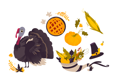 Vector thanksgiving set. Autumn, harvest and thanksgiving symbols - horn of planty, cornucopia, hat pumpkin apple pie, turkey leaves vegetables. Flat illustration isolated on a white background. Illustration