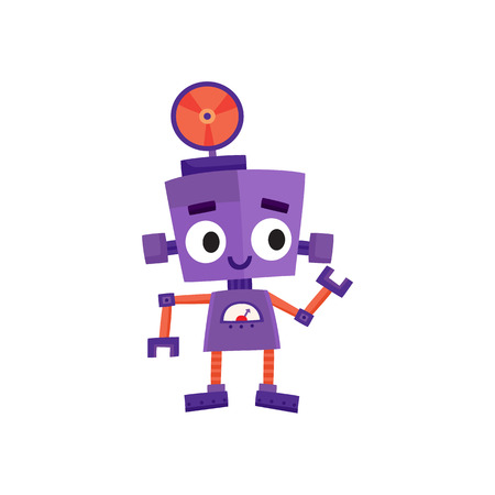 vector flat cartoon funny friendly robot. Small Humanoid boy character with legs arms, bolt ears with locator on head smiling. Isolated illustration on a white background. Childish futuristic android.