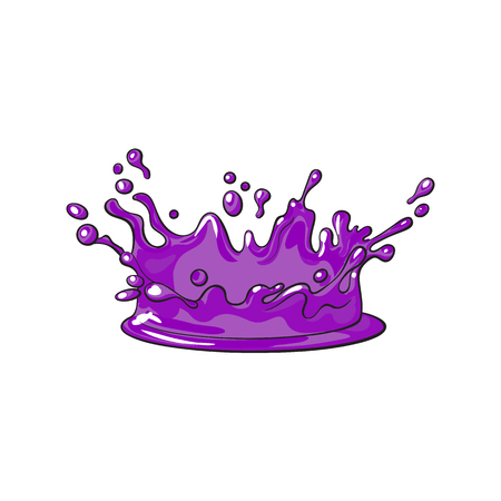 vector purple juice drop, blot cartoon. Isolated illustration on a white background. Sweet splashes, smudges element Illusztráció