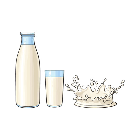 Vector cartoon glass bottle, cup of milk and milk splash drop. Isolated illustration on a white background. Soft drink, refreshing beverage image.