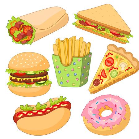 Vector Burgers Pizza Slice, Roll Doner Kebab Aardappel Braad Sandwich Donut Set. Fastfood platte cartoon geïsoleerde illustratie op een witte achtergrond.