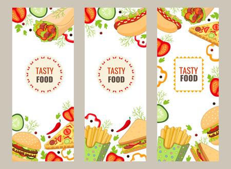 Vector fastfood banner sjabloon set. hamburger pizza slice, roll doner kebab aardappel fry sandwich donut. platte cartoon geïsoleerde illustratie op een witte achtergrond. Gemengde objecten, vrije ruimte voor uw tekst Stock Illustratie
