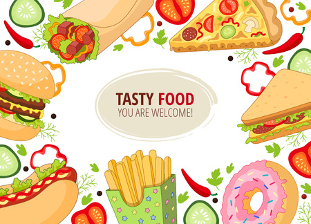 Vector fast food template . Burger pizza slice, roll doner kebab potato fry sandwich donut. flat cartoon isolated illustration on a white background. Mixed objects with free space for your text
