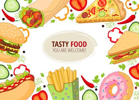 Vectorvoedselvoedselsjabloon. Burger pizza slice, roll doner kebab aardappel fry sandwich donut. platte cartoon geïsoleerde illustratie op een witte achtergrond. Gemengde objecten met vrije ruimte voor uw tekst