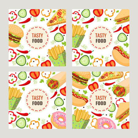 Vector fast food template set. burger pizza slice, roll doner kebab potato fry sandwich donut. flat cartoon isolated illustration on a white background. Mixed objects with free space for your text