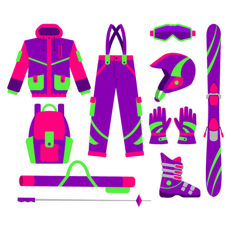 Big set of flat style skiing objects - jacket, pants, boot, goggle, gloves, poles, pole bag, helmet, backpack, vector illustration isolated on white background. Flat vector set of skiing objects Ilustrace