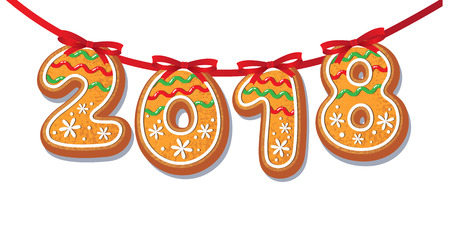 Gingerbread 2018 numbers on garland vector isolated illustration on a white background. New year 2018 baked candy numbers cartoon sweet cake on red garland. Traditional winter holiday home treat Illustration