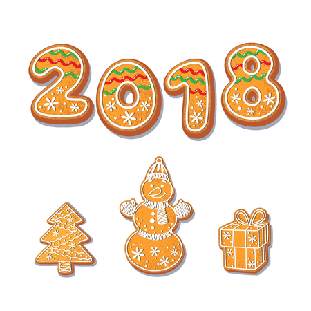 Gingerbread cookies set vector isolated illustration on a white background. New year baked cartoon sweet cake 2018 numbers snowman, spruce tree, gift . Traditional winter holiday home treat