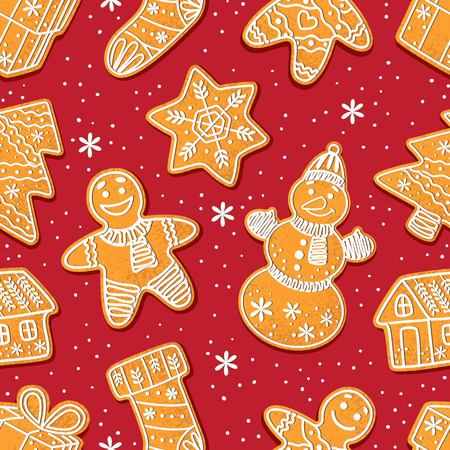 Seamless pattern formed by glazed homemade Christmas gingerbread cookies on red background, cartoon vector illustration. Christmas gingerman, boot, tree, house, snowflake. snowman gingerbread cookies Ilustração