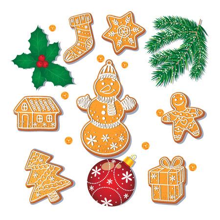 Set di biscotti di Pan di zenzero di Natale smaltati, ramo di abete, misletoe, decorazione palla, fumetto illustrazione vettoriale isolato su sfondo bianco. Set di biscotti e decorazioni di panpepato di Natale Archivio Fotografico - 86157207