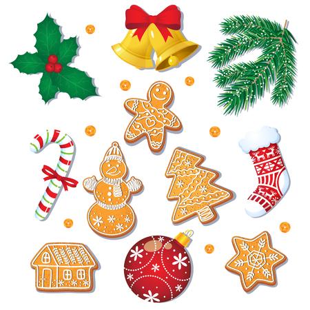 Grande insieme dei biscotti e delle decorazioni glassati del pan di zenzero di Natale, abete, vischio, bastoncino di zucchero, illustrazione di vettore del fumetto isolata su fondo bianco. Biscotti di panpepato di Natale, decorazioni Archivio Fotografico - 86157208