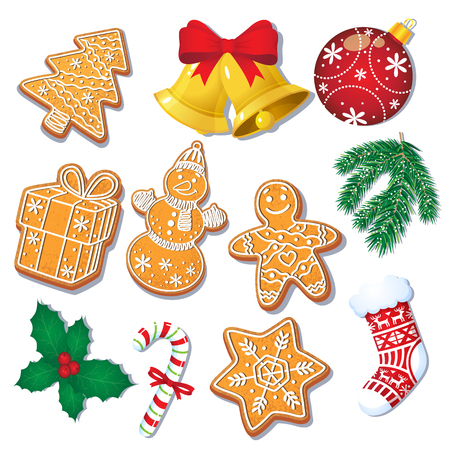 Set of glazed Christmas gingerbread cookies and decorations, fir tree, mistletoe, cartoon vector illustration isolated on white background. Set of Christmas gingerbread cookies and decorations