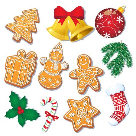 Ensemble de biscuits de pain d'épice de Noël émaillé et décorations, sapin, gui, illustration de vecteur de dessin animé isolé sur fond blanc. Ensemble de biscuits de pain d'épice de Noël et de décorations Banque d'images - 86157209