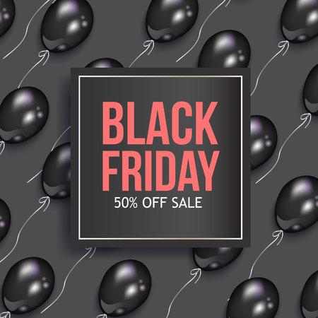 黒の光沢のある風船と正方形のフレーム、ベクトル イラスト金曜日販売バナー デザイン。黒い金曜日販売バナー、チラシ、ポスター テンプレート   イラスト・ベクター素材