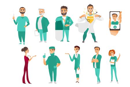医師、セラピスト、看護師、外科医、医療スタッフ、病院の従業員、スマート フォン アプリケーション、白い背景で隔離のフラット漫画ベクトル図