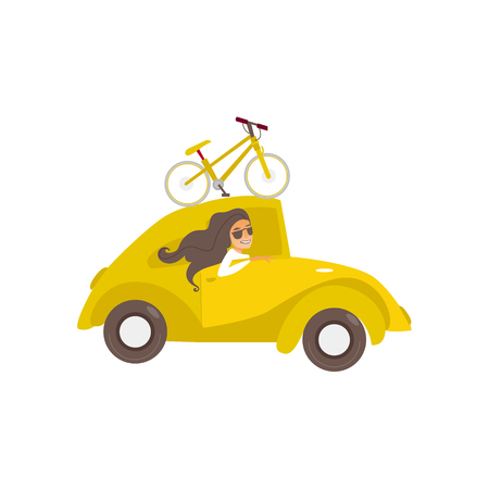 vector flat cartoon style yellow car with bicycle fixed at its roof beautiful girl in sunglasses driving. Travelling by motor vehicle, road trip concept. Isolated illustration on a white background.