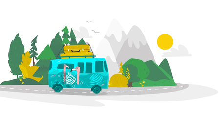 vector flat cartoon camping scene, travelling road trip. funny green hippie minivan car with big bags fixed at its roof within trees, mountains. Isolated illustration on a white background.