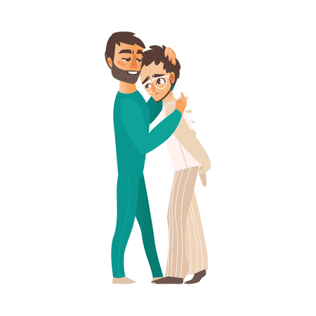 vector flat doctor hugging man in Psychiatric hospital, mental patient uniform, glasses walking folded arms behind his back . Isolated illustration on a white background. Mental illness concept