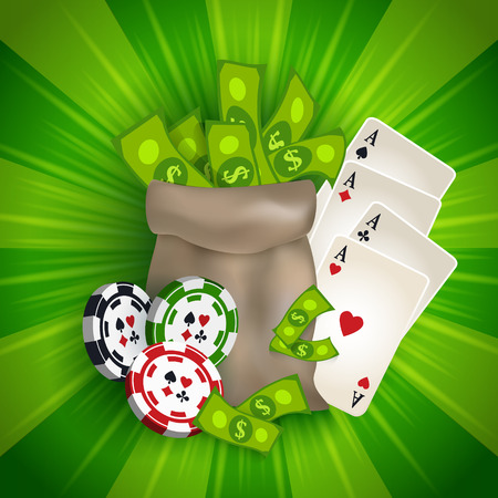 Bandera del casino, diseño del cartel con el bolso del dinero, microprocesadores de juego, naipes y dólares, ejemplo del vector. Casino, fichas de juego tokens bolsa de dinero yy dólares, banner, cartel, diseño de tarjeta postal