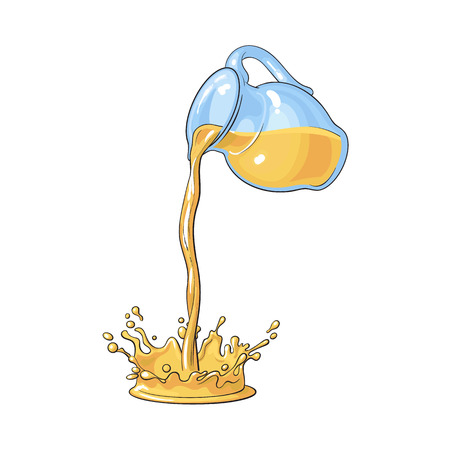 Drawing of orange juice pouring from glass jar, making splash, sketch style vector illustration isolated on white background. Hand drawn jar with orange juice pouring down, making splash, blob