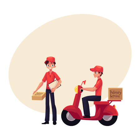 Courier, delivery service worker riding scooter, standing with clipboard and parcel box, hand cart with boxes, cartoon vector illustration with space for text.