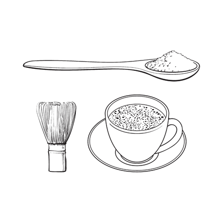 Black and white contour drawing, vector sketch cartoon hand drawn ceramic cup of mathca tea ,bamboo spoon with powder, and wooden whisk set. Isolated illustration on a white background.