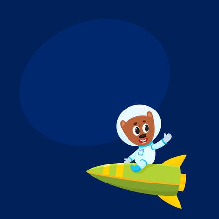 Cute little teddy bear astronaut, spaceman character riding a rocket, cartoon vector illustration with space for text. Baby teddy bear astronaut, spaceman in spacesuit riding rocket in space