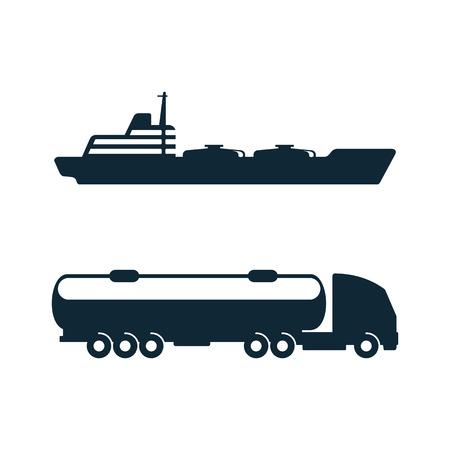 Vektor-Benzin-Tanker-LKW-Fahrzeug und Öltanker Schiff legen einfache flache Symbol Piktogramm auf einem weißen Hintergrund. Gasölbrennstoff, Energieleistungssymbol, Zeichen