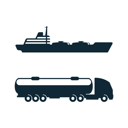 vector gasoline tanker truck vehicle and oil tanker ship set simple flat icon pictogram isolated on a white background. Gas oil fuel, energy power industry symbol, sign Vettoriali