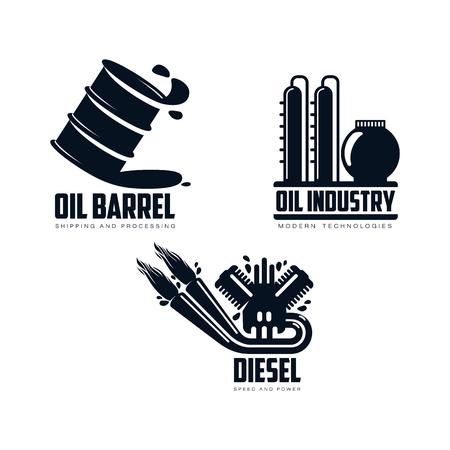 vector diesel benzinemotor met vuur uit uitlaatpijp, olieraffinaderij plant, olie vat eenvoudige platte pictogram pictogram set geïsoleerd op een witte achtergrond. Gas brandstof energie macht aardolie-industrie symbool Stock Illustratie