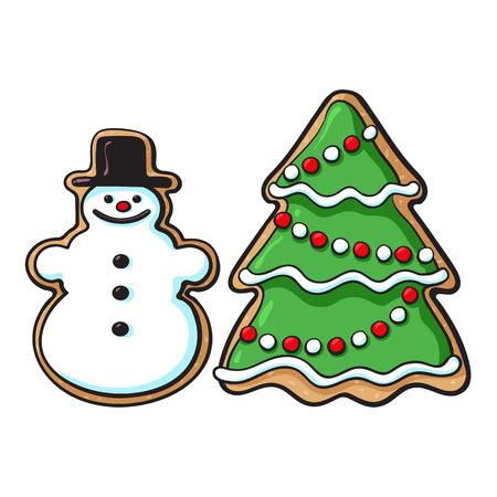 유약 된 눈사람 및 크리스마스 트리 생강 빵 쿠키 스케치 스타일 벡터 일러스트 흰색 배경에 고립. 크리스마스 유약 진저 쿠키 모양 눈사람 및 크리스