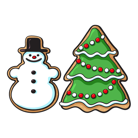 Glazed snowman and Christmas tree gingerbread cookies, sketch style vector illustration isolated on white background. Christmas glazed gingerbread cookies in shape of snowman and Xmas tree