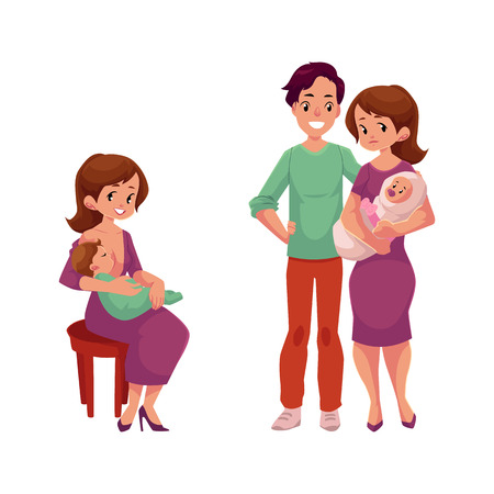 vector flat cartoon adult couple with infant baby, girl sitting at chair with suckling set. Isolated illustration on a white background. Flat family characters.