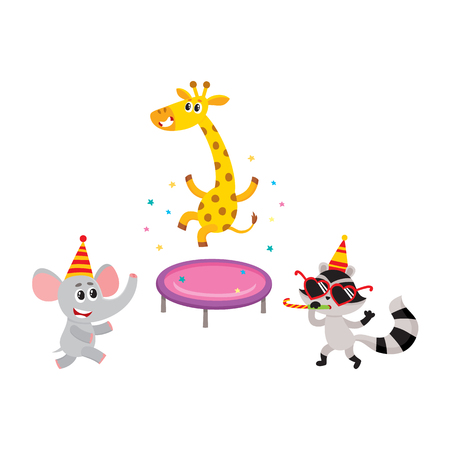 vector flat cartoon cheerful animals character smiling in paty hat set. giraffe jumping on trampoline, raccoon having fun whistling elephant dancing. isolated illustration on a white background Ilustracja
