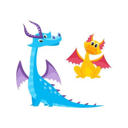 벡터 평면 만화 재미 있은 파랑, 해양 성인, 성숙한 뿔과 날개와 노란 아이 드래곤 설정합니다. 흰색 배경에 고립 된 그림입니다. 귀하의 디자인을위한  일러스트