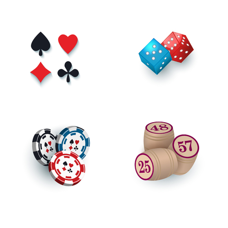 Set of casino symbols - playing card suits, chips, tokens, kegs and dices, illustration isolated on white . Playing card suit symbols, dices, casino chips, tokens, bingo kegs Illustration