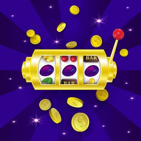 Casinobanner, afficheontwerp met gokautomaat die een winnende combinatie met drie pruimtekens, vectorillustratie tonen. Jackpot-gokautomaat, winnende combinatie, drie pruimtekens, bannerontwerp