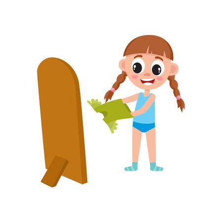 vector platte cartoon meisje kind zich kleedt voor de spiegel. Geïsoleerde illustratie op een witte achtergrond. Gelukkig kindkarakter, dagelijks routineconcept.