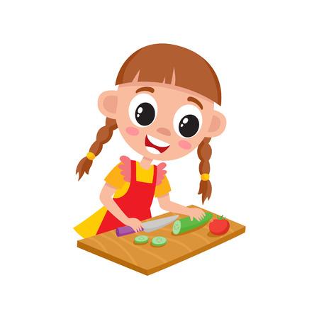 Petite fille en tablier cuisine, coupe, tranchage de concombre pour salade, illustration de vecteur de dessin animé isolé sur fond blanc. Dessin animé fille coupe concombre, aidant la mère avec la cuisine