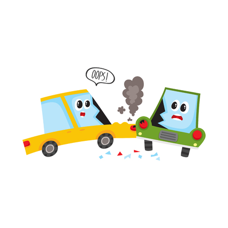 vector flat cartoon car accident. Yellow vehicle crashed into green one saying oops and got black smoke from hood and cracked side window glass. Isolated illustration on a white background. Illustration