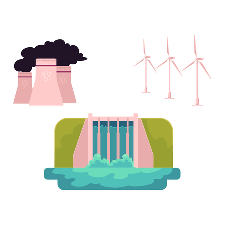vector flat cartoon types of energy - hydroelectric dam power station, windmill nuclear reactor. Green ecological renewable, and dirty electricity supply. Isolated illustration on a white background.