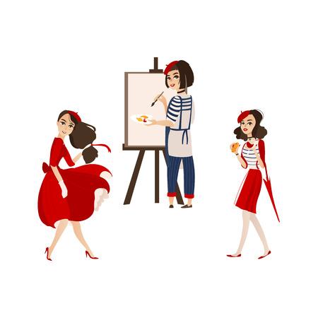 Franse vrouwentekens met typische symbolen van Frankrijk - het schilderen, manier, wijn en chesse, vlakke beeldverhaal vectorillustratie die op witte achtergrond wordt geïsoleerd. Typische Fransen, vrouwen, karakters Stock Illustratie