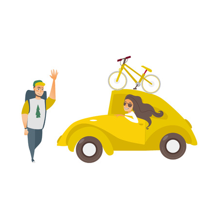 vector flat cartoon style yellow car with bicycle at its roof beautiful girl driving, man hiker waving hand set. Travelling, road trip concept. Isolated illustration on a white background. Ilustrace