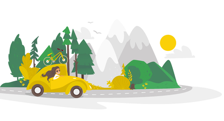 vector flat cartoon camping scene, travelling road trip. funny yellow car with big bags fixed at its roof within trees, mountains. Isolated illustration on a white background.